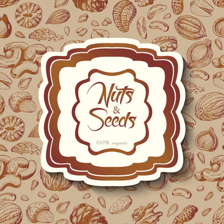 Seamless background with nuts and an inscription in the middle. Vector  illustration for your design Ilustrace