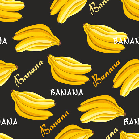 Seamless pattern with bananas on a black background. Vector illustration for your design