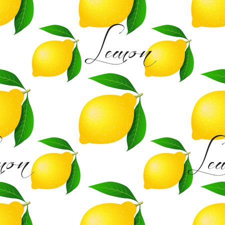 Seamless pattern with lemons. Vector illustration for your design Vektorgrafik