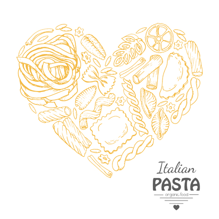 The isolated heart of pasta on a white background. Vector  illustration for your design Imagens - 122749349