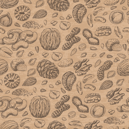 Seamless pattern with seeds and nuts on beige background. Vector  illustration for your design Illustration