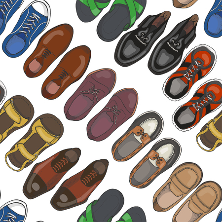 Seamless pattern with men's shoes. Vector illustration for your design