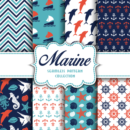 Big collection of seamless patterns with marine elements. Vector illustration for your design