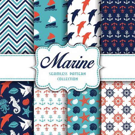 Große Sammlung nahtloser Muster mit Meereselementen. Vektorillustration für Ihr Design