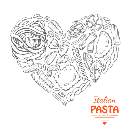 The isolated heart of pasta on a white background. Vector  illustration for your design