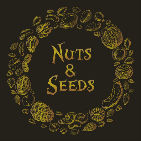 Vector round frame of nuts and seeds. Vector  illustration for your design