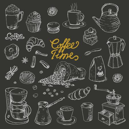 Raccolta di elementi di doodle di caffè per menu bar, volantini, lavagna su sfondo scuro. Illustrazione vettoriale per il tuo design Vettoriali