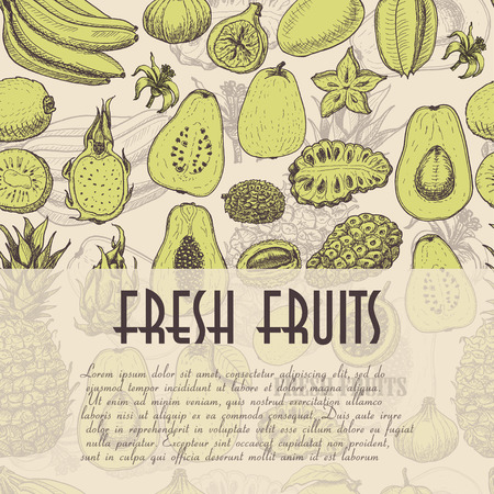 Seamless background with fruits, which is ideal for the restaurant industry and markets. Vector  illustration for your design Illustration