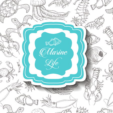 Background with sea inhabitants and an inscription in the middle. Vector  illustration for your design