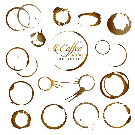 Conjunto de vector de anillo de mancha de café aislado. Mancha de anillo de taza de café para diseño de logotipo.