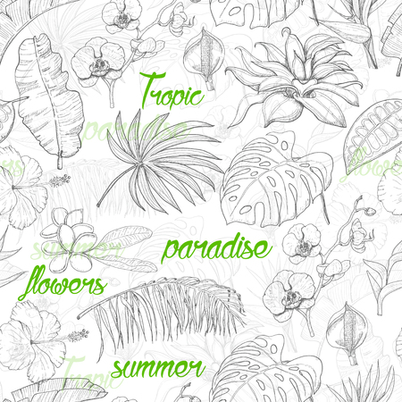 Seamless pattern with tropical plants and flowers. Vector illustration for your design