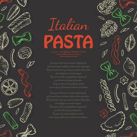 Vertical background with Italian pasta on dark background. Vector illustration for your design Illustration