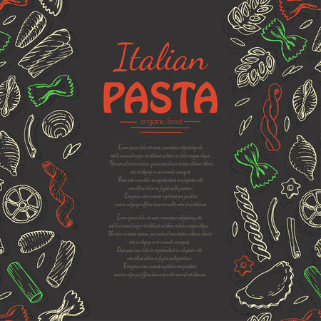 Vertical background with Italian pasta on dark background. Vector illustration for your design Иллюстрация
