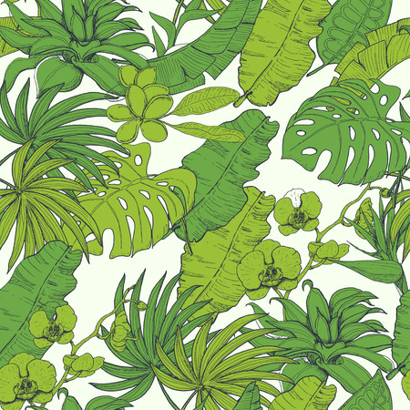 Seamless pattern with tropical plants and flowers. Vector illustration for your design Reklamní fotografie - 122448972