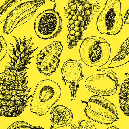 Seamless pattern with tropical fruits on a yellow background. Vector illustration for your design