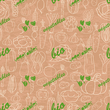 Seamless pattern with vegetables on beige background. Vector illustration for your design