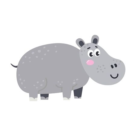 Vector cute African animal. Hippopotamus. Funny character for kids. Ilustração