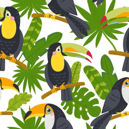 Seamless pattern with cute toucans from the jungle