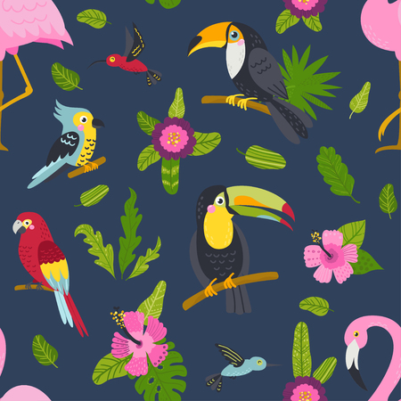 Seamless pattern with cute birds and plants. Illustration for backgrounds, card, posters, banners, textile prints, cover, web design