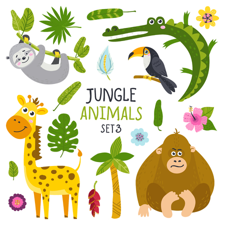 Vector set of cute animals from jungle and plants. Isolated elements for stickers, cards, invites and posters