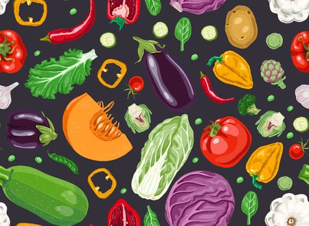 Seamless pattern with fresh vegetables. Illustration for backgrounds, card, posters, banners, textile prints, cover, web design Ilustracja