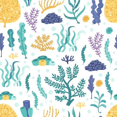 Seamless pattern with seaweeds and corals
