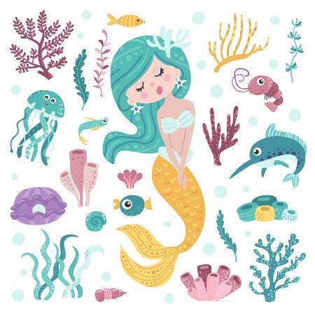 Set of cute mermaid, seaweeds and marine inhabitants
