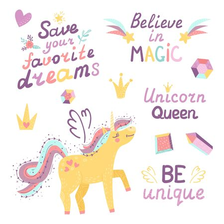 Set of fantasy unicorn, crystal, crown and lettering