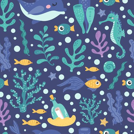 Seamless pattern with seaweed and fish