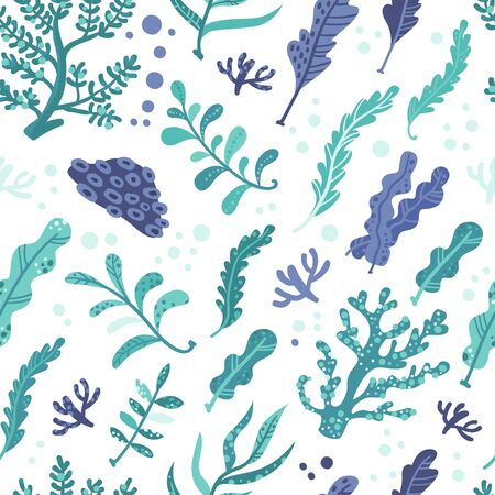 Seamless pattern with seaweeds