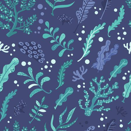 Seamless pattern with seaweeds. Vector illustration for your design