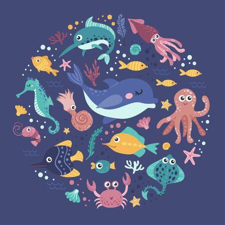 Set of sea animals Ilustracja