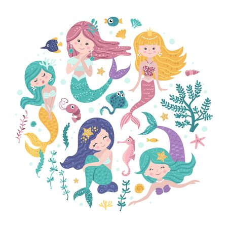 Poster with mermaids and sea animals Ilustracja