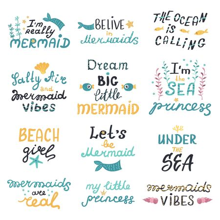 Vector set of lettering with cute mermaids phrases.