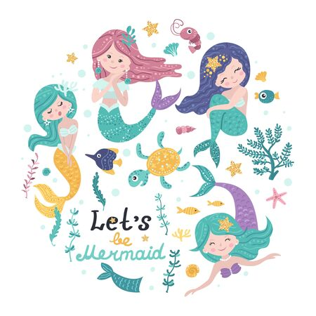 Poster with mermaids and lettering