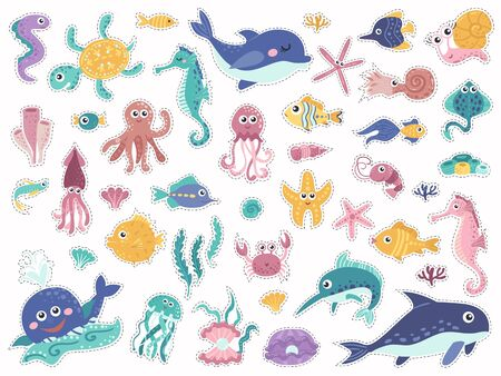 Big set of stickers with cute marine inhabitants.