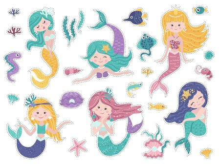 Set of stickers with cute mermaids and sea nature. Ilustracja