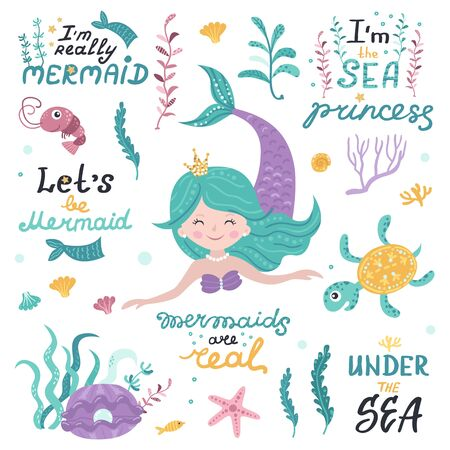 Set of mermaid, sea animals and lettering