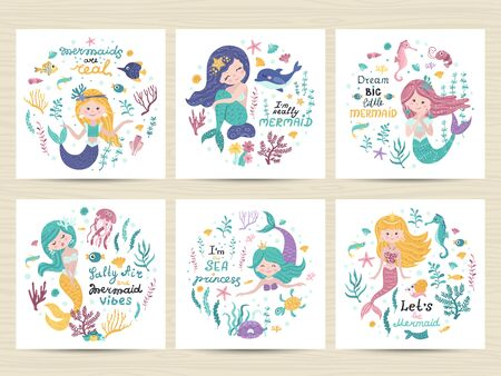 Set of posters with mermaid, sea animals