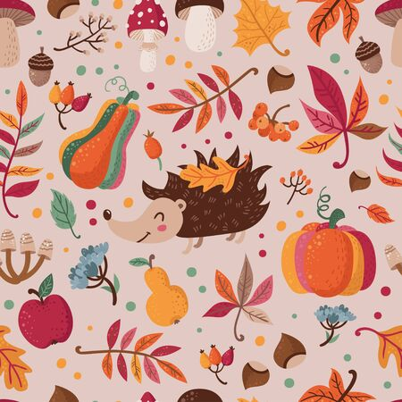 Seamless pattern with autumn leaves, mushrooms, berries