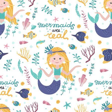 Seamless pattern with cute mermaids, seaweed
