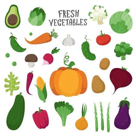 Set of vegetables in cartoon style. Collection farm product for restaurant menu, market label Ilustração