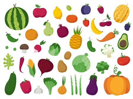 Set of vegetables, fruits and berries