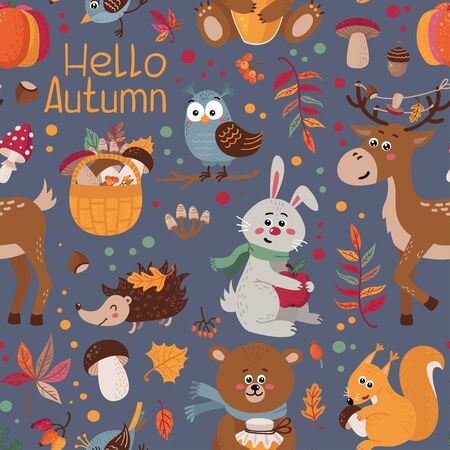 Seamless pattern with cute forest animals