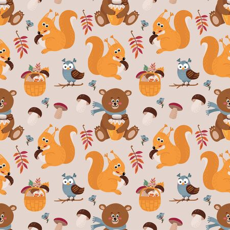 Seamless pattern with cute bears, squirrels, owls