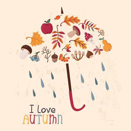 Autumn card with umbrella.