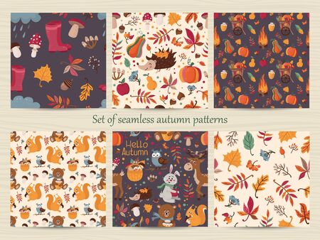 Set of seamless autumn patterns  イラスト・ベクター素材