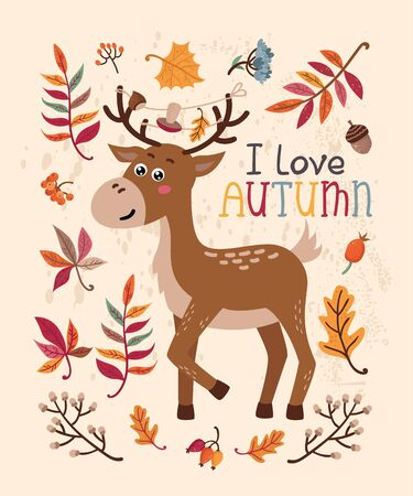 Autumn card with deer and leaves. Vector illustration for your design