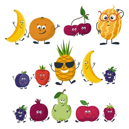 Vector fruits isolated in a cartoon style