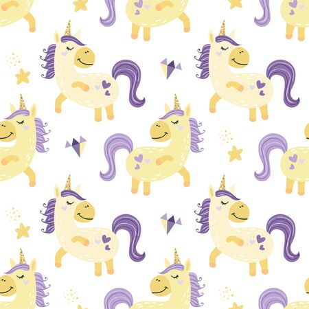 Seamless pattern with fairy unicorns. Vector illustration for design of baby clothes, diapers and room.